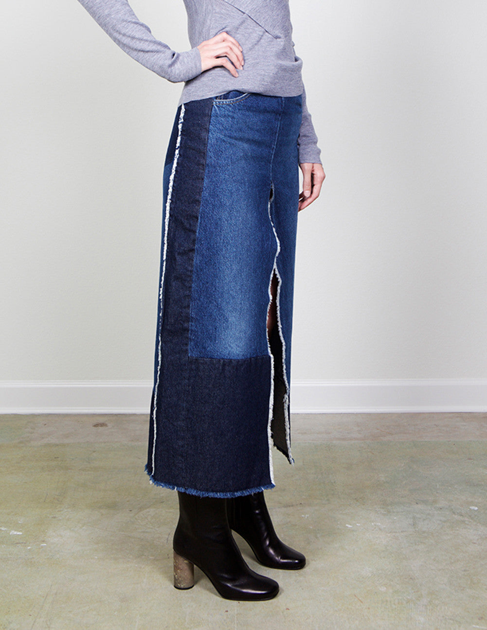 Denim Slit Pencil Skirt