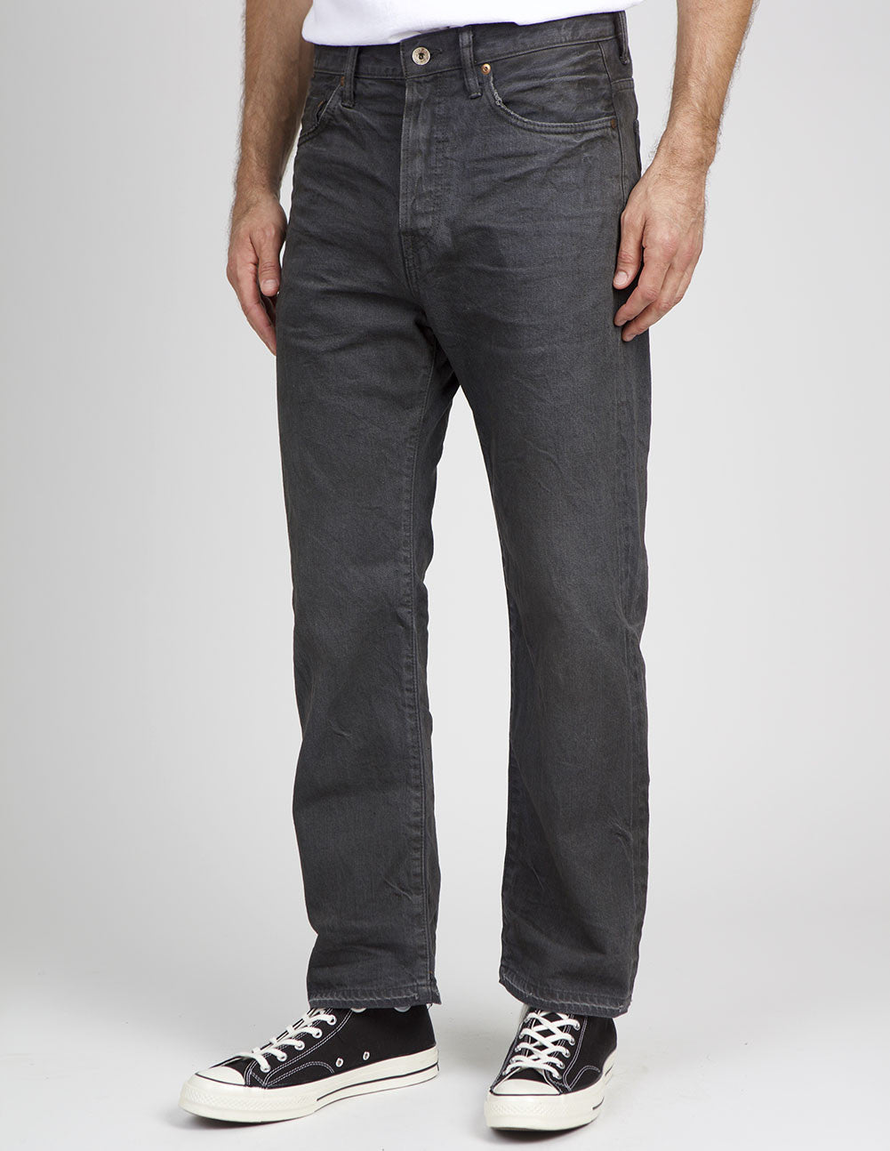 Selvedge Ankle Cut Charcoal Jeans