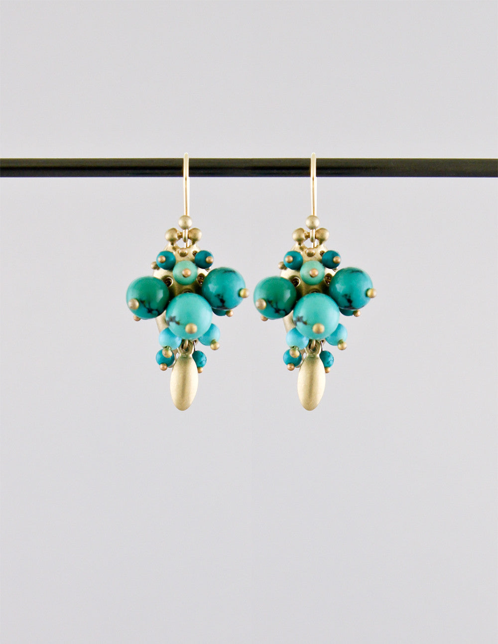 Turquoise Bug Cluster Earrings