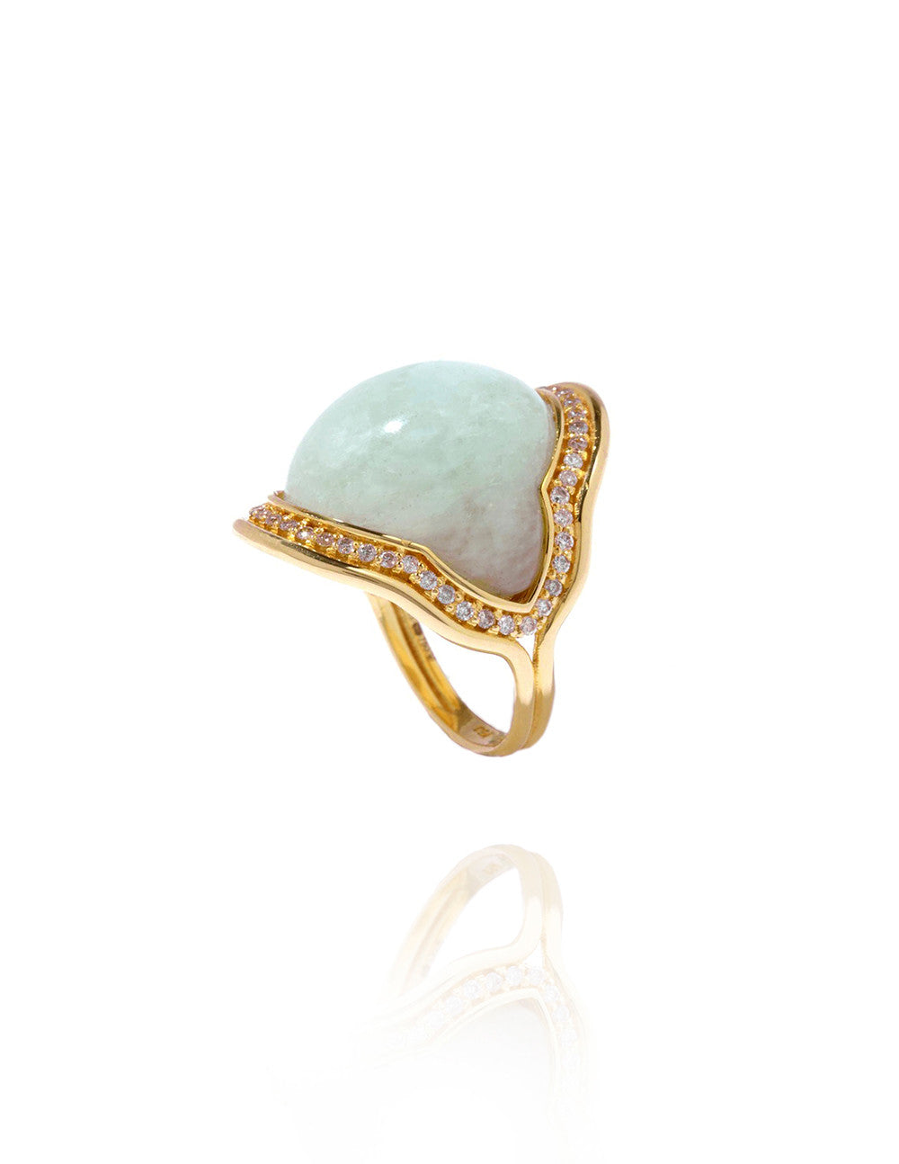 Fluid Diamonds Framed Milky Aquamarine Ring