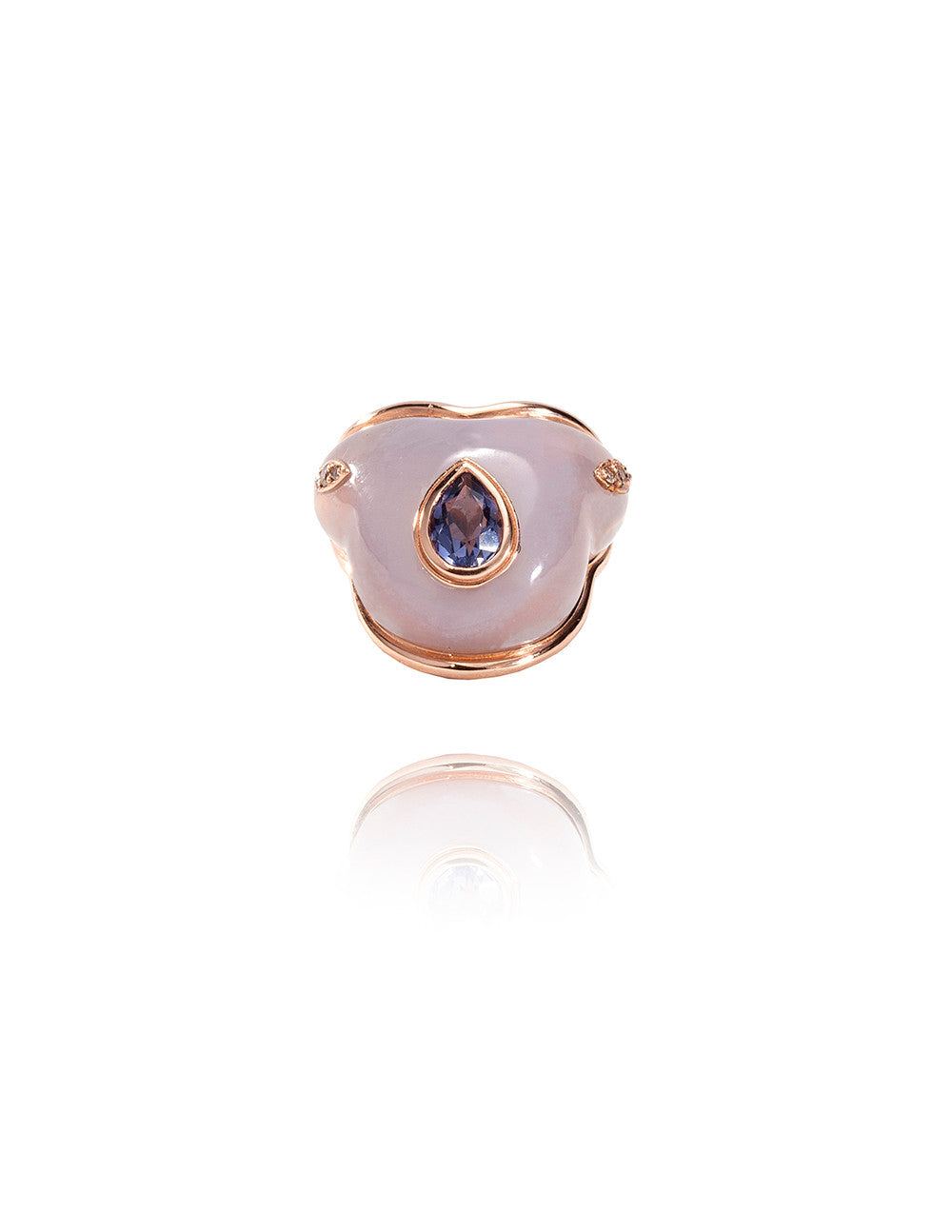 Fluid Iolite Droplet On Chalcedony Ring