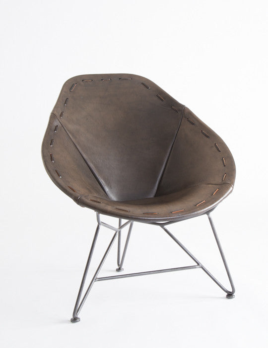 Black Leather Oval Chair