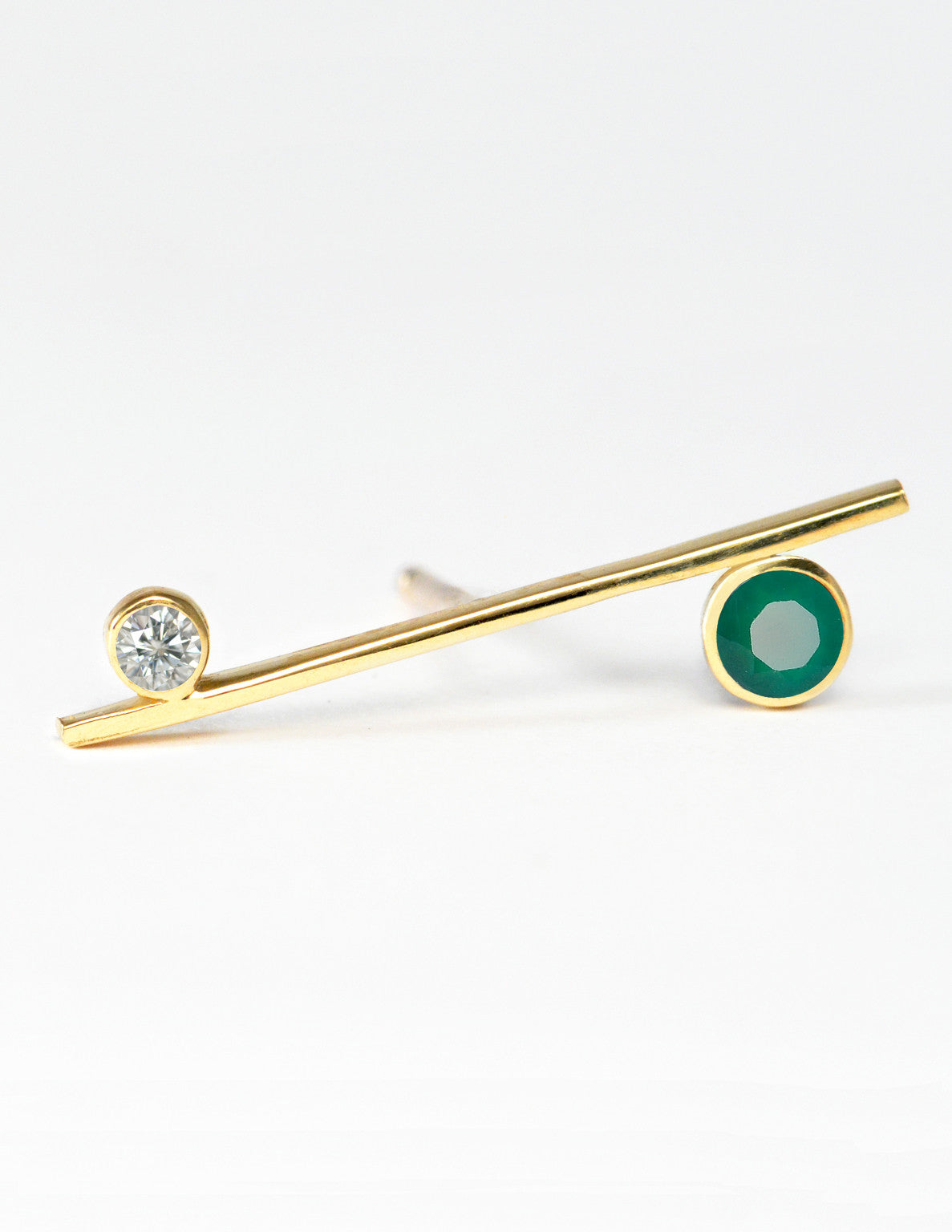 Green Agate & Diamond Bar Earring