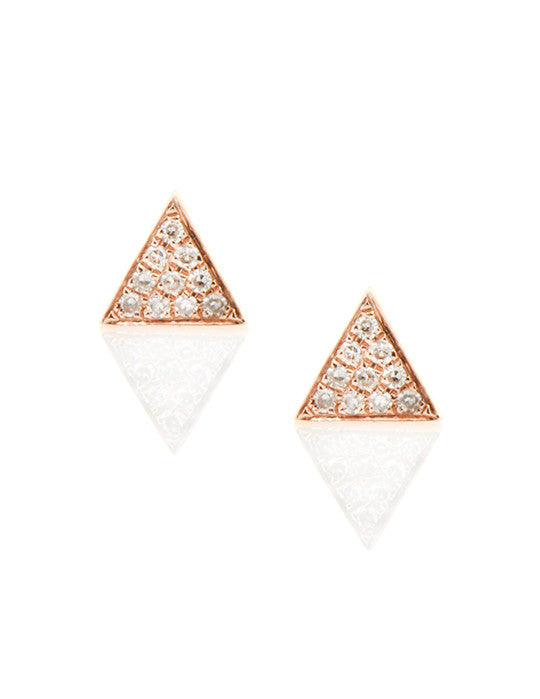 Pave Diamond Triangle Studs