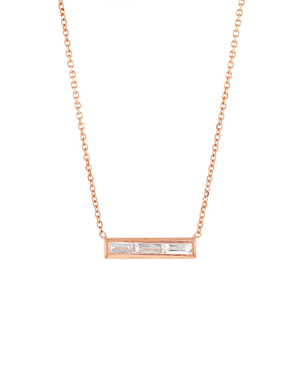 Triple Diamond Baguette Bar Necklace
