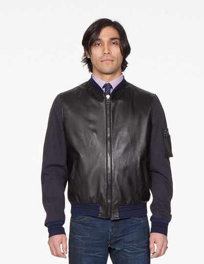 Leather Front College Jacket