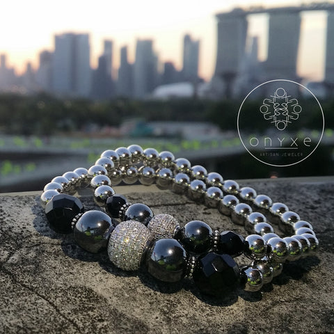 Destiny | Agate, Hematite, 24k White Gold Plated Beads