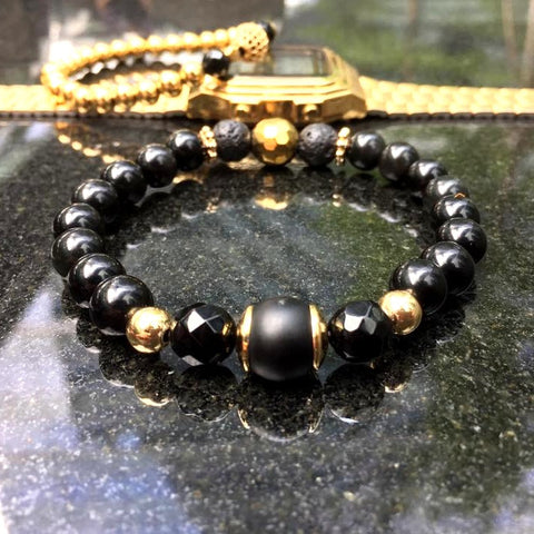 Gold Wings | Agate, Hematite, Lava Stone, 24k Gold Hardware
