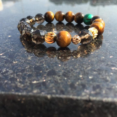 Intuition | Tiger Eye, Smoky Quartz, Malachite, Gold Plated Hardware