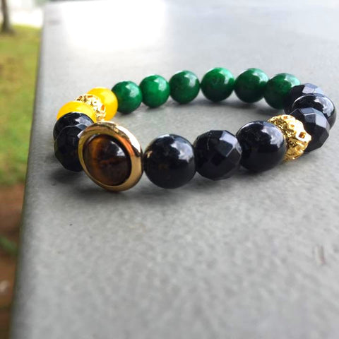 Rio | Agate, Jadeite, 24k Gold Plated Hardware, Red Tiger's Eye