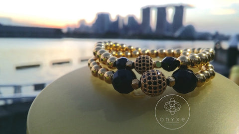 Fate | Agate, Gold Pave Bead, Gold Plated