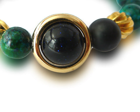 Sunken Treasure | Chrysocolla, Agate, Sandstone, Gold Plated Hardware