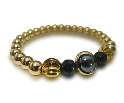Zeus Armour | Agate, Hematite, Gold Plated Bead