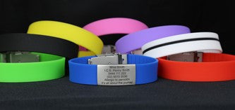 Personalised ID wristbands, Personal Identification Wristbands, ID Wristbands, Medical Alert Wristband, runners ID wristbands, Sports ID wristband, kids ID wristbands, Medical Bracelets, ID bracelets, Identification Bracelets, Runners, Sports, Medical, Allergies, Heart, Diabetic, 8 Colours, Free Delivery Australia Wide