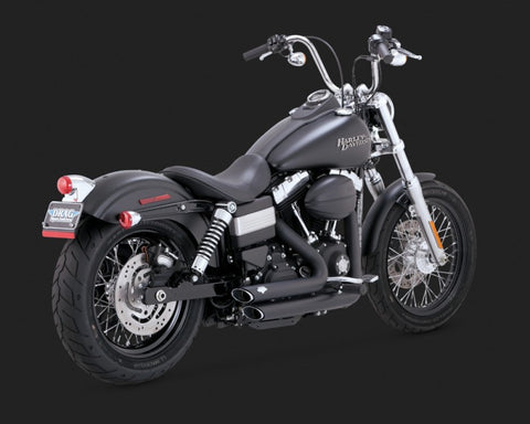 Vance and Hines ShortShots Staggered-Black-2012-2017 Dyna