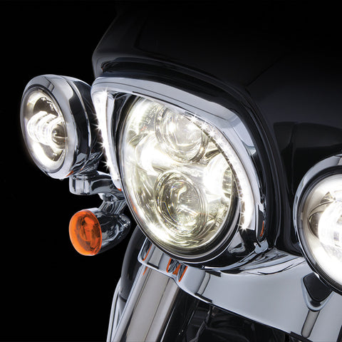 Ciro Fang LED Headlight Bezel for Harley Batwing Fairing-Chrome and Black