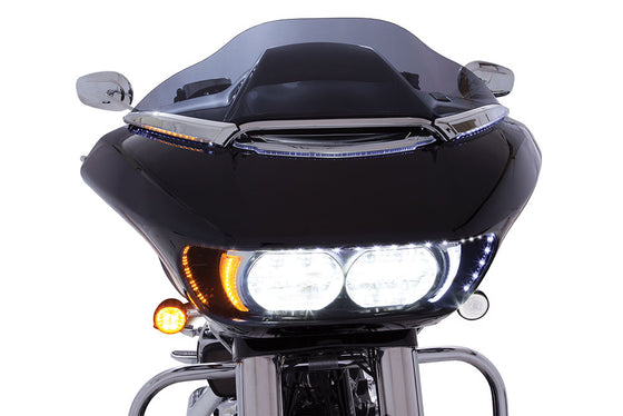 Ciro 3D LED Lighted Horizon Windshield Trim for Harley Road Glide Shark Nose Fairing-15 & Newer-Chrome