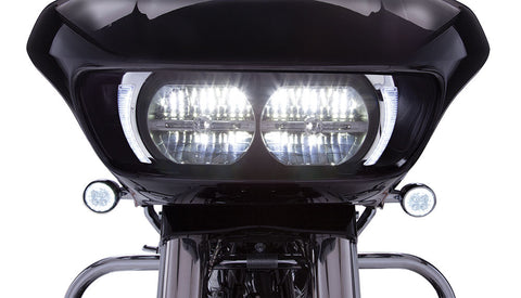 Ciro Fang LED Headlight Bezel for Road Glide in Chrome and Black