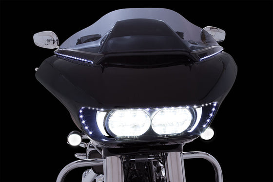Ciro 3D LED Lighted Horizon Windshield Trim for Harley Road Glide Shark Nose Fairing-15 & Newer-Black