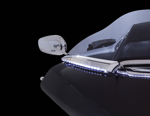 CIRO LED Lighted Horizon Windshield Trim for Road Glide-Chrome