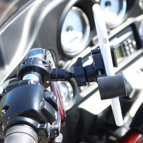 Biker Gripper Cell Phone Handlebar Universal Bar Mount Kit-Black or Chrome-Harley or Metric
