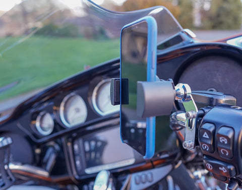 Biker Gripper Control/Perch Mount System-WITH GRIPPER HEAD-Black or Chrome (For Harley & Metric Motorcycles)-PACKAGE