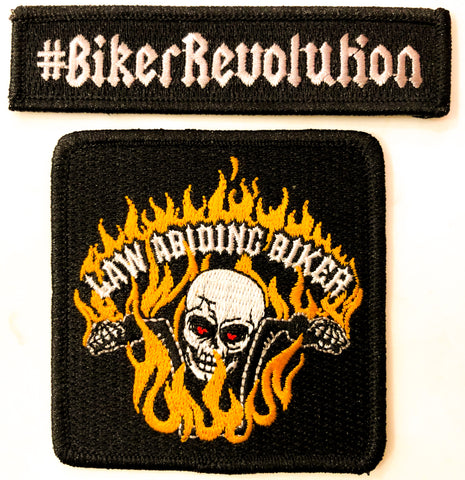 Support Patches-Law Abiding Biker!  2 Styles to Choose From! Rectangle & Square