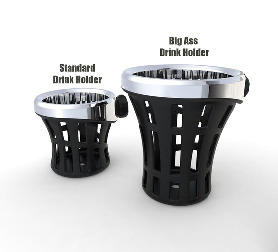Ciro 3D Big Ass Drink Holder-Rider & Passenger Mount Options-Harley & Metric-Black