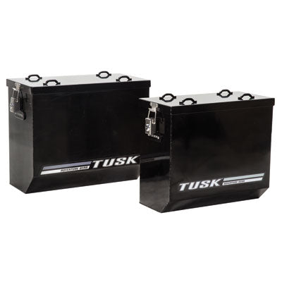 Tusk Aluminum Panniers-(Black & Silver)-(Large & Medium)