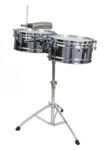 "Toca Elite Series T-315 Timbale Drum Set w/stand - 14"" & 15"""