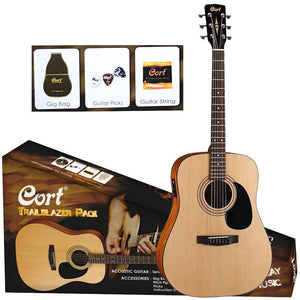 CORT ACOUSTIC PACK. TUNER EQ PICKUP. WITH GIG BAG, STRAP, STRINGS AND PICK.