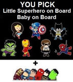 Baby on Board or Superhero on Board Reflective Safety Car Sign + FREE Superhero Bumper Sticker, New Baby, Child Gift, Present, Baby Shower (Baby on Board, Batgirl)