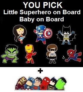 Baby on Board or Superhero on Board Reflective Safety Car Sign + FREE Superhero Bumper Sticker, New Baby, Child Gift, Present, Baby Shower (Little Superhero on Board, Wonder Woman)