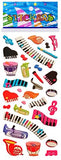 6 Sheets Puffy Dimensional Scrapbooking Party Favor Stickers + 18 FREE Scratch and Sniff Stickers - MUSIC INSTRUMENTS_2
