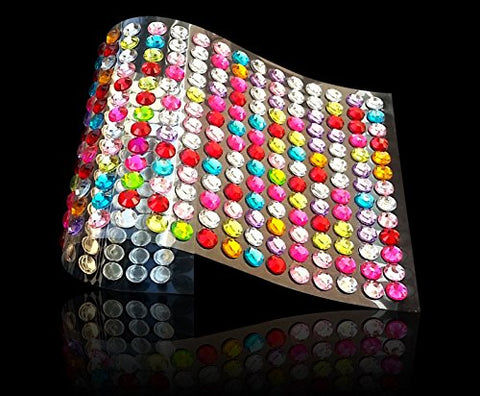 1040pcs 6mm Sheet Crystal RHINESTONES Self Adhesive Stick On Stickers - Multicolor/Assorted / Mixed 6mm