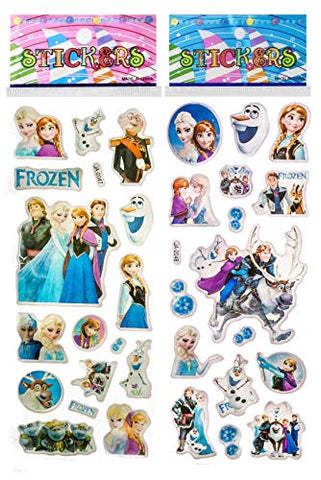 6 Sheets Puffy Dimensional Scrapbooking Party Favor Stickers + 18 Free Scratch and Sniff Stickers - Frozen