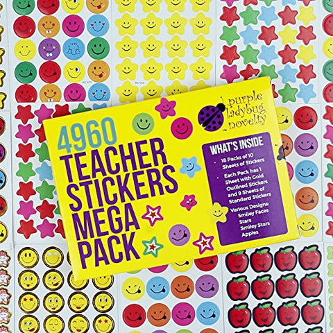 Teacher Stickers For Kids Mega Pack- Purple Ladybug Novelty, 4960 Reward Stickers & Incentive Stickers for Teachers Classroom & School Bulk Use! Includes Smiley Face Stickers & Star Stickers!