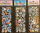 6 Sheets Puffy Dimensional Scrapbooking Party Favor Stickers + 18 FREE Scratch and Sniff Stickers - TOM AND JERRY