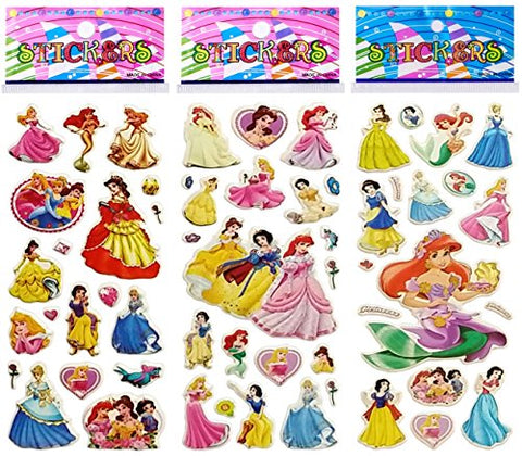 6 Sheets Puffy Dimensional Scrapbooking Party Favor Stickers + 18 FREE Scratch and Sniff Stickers + PRINCESS
