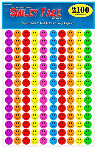"Pack of 2100 Happy Face Smiley Stickers, 3/4"" Round, Bright Neon Colors, Great for Teachers"