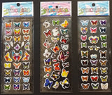 6 Sheets Puffy Dimensional Scrapbooking Party Favor Stickers + 18 FREE Scratch and Sniff Stickers - BUTTERFLY_2