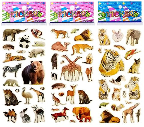 6 Sheets Puffy Dimensional Scrapbooking Party Favor Stickers + 18 FREE Scratch and Sniff Stickers - ANIMALS FARM WILD