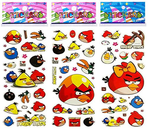6 Sheets Puffy Dimensional Scrapbooking Party Favor Stickers + 18 FREE Scratch and Sniff Stickers - ANGRY BIRDS