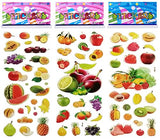 6 Sheets Puffy Dimensional Scrapbooking Party Favor Stickers +18 FREE Scratch and Sniff Stickers - FRUIT