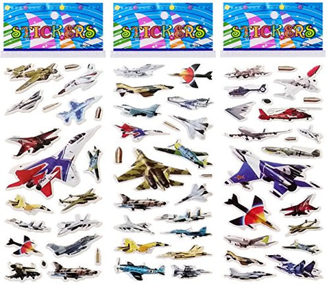 6 Sheets Puffy Dimensional Scrapbooking Party Favor Stickers + 18 FREE Scratch and Sniff Stickers - AIRPLANE