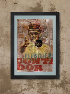 Alberto Contador cycling poster print - El Pistolero. the great spanish cyclist. Modernist styled print showing the rider's palmares.