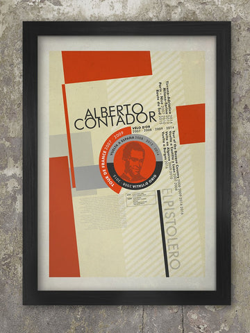 Alberto Contador Palmarès Cycling Poster Print. Produced in the style of the old Bauhaus and Constructivist posters, The Alberto Contador Palmarès - displays the achievements of the great Spanish cyclist. There's also a biography paragraph of his career. part of a series which includes Eddy Merckx, Gino Bartali, Fausto Coppi and Fabian Cancellara. Alberto Contador - El Pistolero
