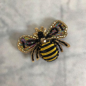beaded bee brooch