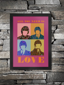 Beatles All You Need is Love in Pink. The Fab Four, John, Paul, George and Ringo in pop art style.
