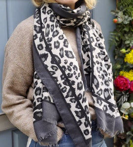 Black and Grey Leopard Print Scarf classic homeware Lisa Angel